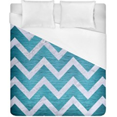 Chevron9 White Marble & Teal Brushed Metal Duvet Cover (california King Size) by trendistuff