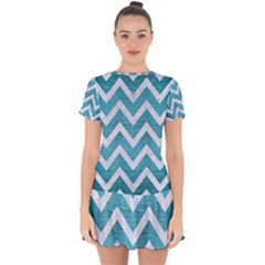 Chevron9 White Marble & Teal Brushed Metal Drop Hem Mini Chiffon Dress by trendistuff