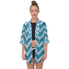 Chevron9 White Marble & Teal Brushed Metal Open Front Chiffon Kimono
