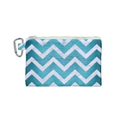 Chevron9 White Marble & Teal Brushed Metal Canvas Cosmetic Bag (small) by trendistuff