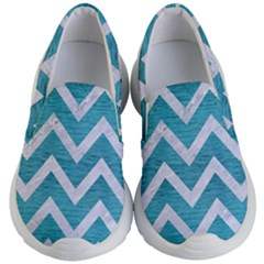 Chevron9 White Marble & Teal Brushed Metal Kid s Lightweight Slip Ons