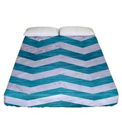 Chevron3 White Marble & Teal Brushed Metal Fitted Sheet (king Size) by trendistuff
