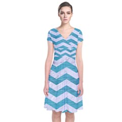 Chevron3 White Marble & Teal Brushed Metal Short Sleeve Front Wrap Dress