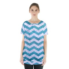 Chevron3 White Marble & Teal Brushed Metal Skirt Hem Sports Top by trendistuff