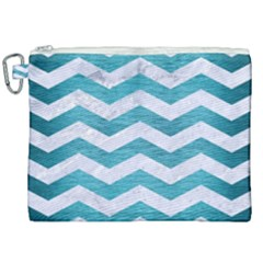 Chevron3 White Marble & Teal Brushed Metal Canvas Cosmetic Bag (xxl) by trendistuff