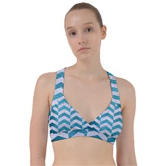 Chevron2 White Marble & Teal Brushed Metal Sweetheart Sports Bra