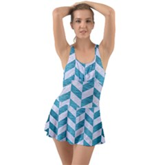 Chevron1 White Marble & Teal Brushed Metal Swimsuit