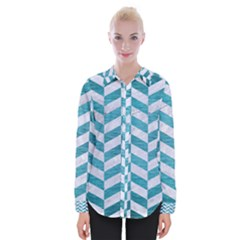 Chevron1 White Marble & Teal Brushed Metal Womens Long Sleeve Shirt by trendistuff