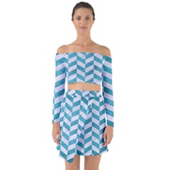 Chevron1 White Marble & Teal Brushed Metal Off Shoulder Top With Skirt Set by trendistuff
