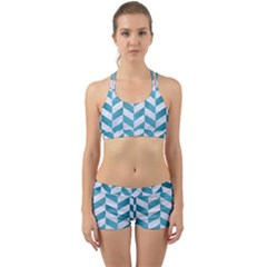 Chevron1 White Marble & Teal Brushed Metal Back Web Sports Bra Set by trendistuff