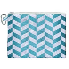 Chevron1 White Marble & Teal Brushed Metal Canvas Cosmetic Bag (xxl) by trendistuff