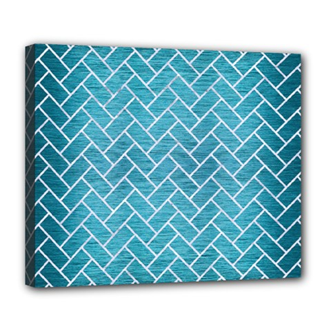 Brick2 White Marble & Teal Brushed Metal Deluxe Canvas 24  X 20   by trendistuff