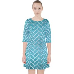 Brick2 White Marble & Teal Brushed Metal Pocket Dress