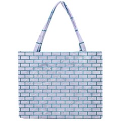 Brick1 White Marble & Teal Brushed Metal (r) Mini Tote Bag by trendistuff
