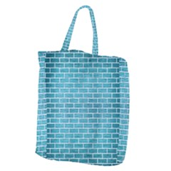 Brick1 White Marble & Teal Brushed Metal Giant Grocery Zipper Tote by trendistuff