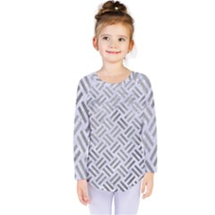 Woven2 White Marble & Silver Paint (r) Kids  Long Sleeve Tee