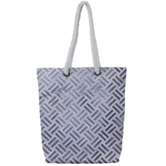 Woven2 White Marble & Silver Paint (r) Full Print Rope Handle Tote (small) by trendistuff