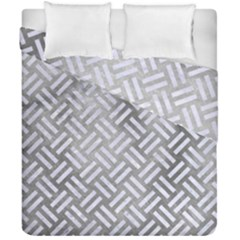 Woven2 White Marble & Silver Paint Duvet Cover Double Side (california King Size) by trendistuff