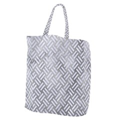 Woven2 White Marble & Silver Paint Giant Grocery Zipper Tote by trendistuff