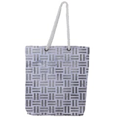 Woven1 White Marble & Silver Paint (r) Full Print Rope Handle Tote (large) by trendistuff