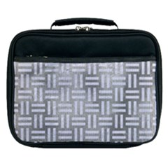 Woven1 White Marble & Silver Paint Lunch Bag