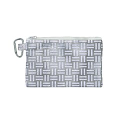 Woven1 White Marble & Silver Paint Canvas Cosmetic Bag (small) by trendistuff