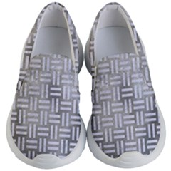 Woven1 White Marble & Silver Paint Kid s Lightweight Slip Ons