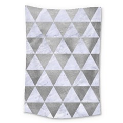 Triangle3 White Marble & Silver Paint Large Tapestry by trendistuff