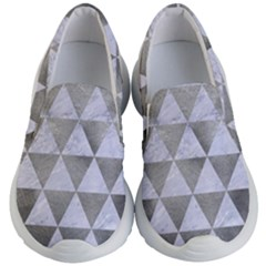 Triangle3 White Marble & Silver Paint Kid s Lightweight Slip Ons