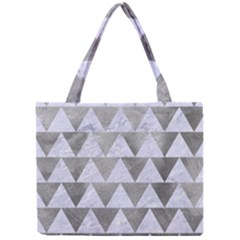 Triangle2 White Marble & Silver Paint Mini Tote Bag by trendistuff