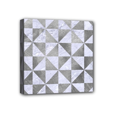 Triangle1 White Marble & Silver Paint Mini Canvas 4  X 4