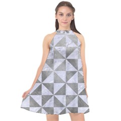 Triangle1 White Marble & Silver Paint Halter Neckline Chiffon Dress