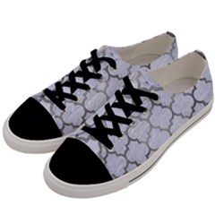 Tile1 White Marble & Silver Paint (r) Men s Low Top Canvas Sneakers by trendistuff