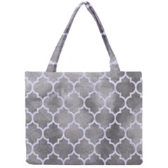 Tile1 White Marble & Silver Paint Mini Tote Bag by trendistuff