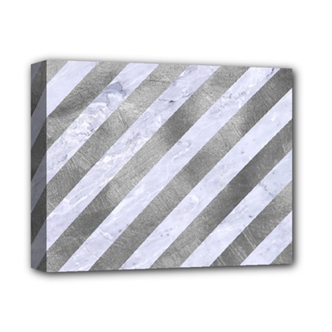 Stripes3 White Marble & Silver Paint (r) Deluxe Canvas 14  X 11  by trendistuff