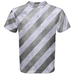 Stripes3 White Marble & Silver Paint (r) Men s Cotton Tee by trendistuff