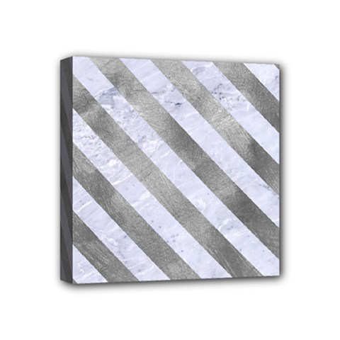 Stripes3 White Marble & Silver Paint Mini Canvas 4  X 4