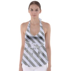 Stripes3 White Marble & Silver Paint Babydoll Tankini Top