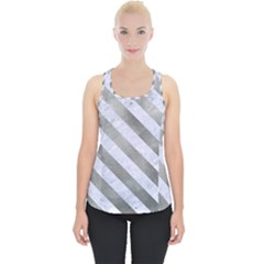 Stripes3 White Marble & Silver Paint Piece Up Tank Top by trendistuff