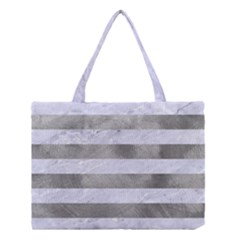 Stripes2white Marble & Silver Paint Medium Tote Bag by trendistuff