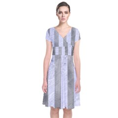 Stripes1 White Marble & Silver Paint Short Sleeve Front Wrap Dress