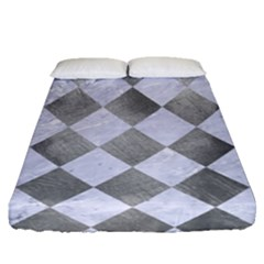 Square2 White Marble & Silver Paint Fitted Sheet (queen Size) by trendistuff