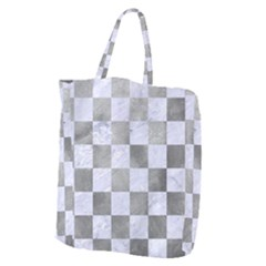 Square1 White Marble & Silver Paint Giant Grocery Zipper Tote by trendistuff