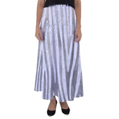 Skin4 White Marble & Silver Paint (r) Flared Maxi Skirt
