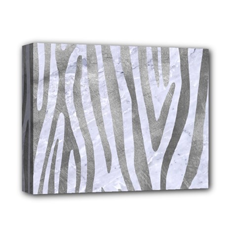 Skin4 White Marble & Silver Paint Deluxe Canvas 14  X 11  by trendistuff