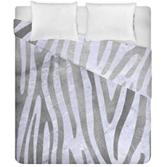 Skin4 White Marble & Silver Paint Duvet Cover Double Side (california King Size) by trendistuff