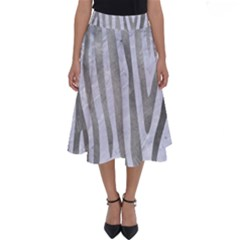 Skin4 White Marble & Silver Paint Perfect Length Midi Skirt