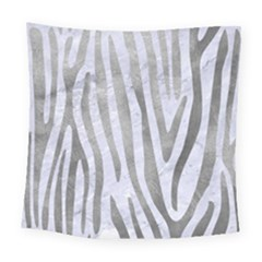 Skin4 White Marble & Silver Paint Square Tapestry (large) by trendistuff