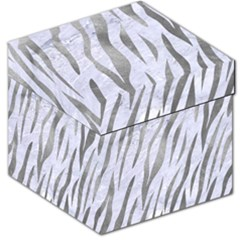 Skin3 White Marble & Silver Paint (r) Storage Stool 12   by trendistuff