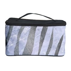 Skin3 White Marble & Silver Paint (r) Cosmetic Storage Case by trendistuff